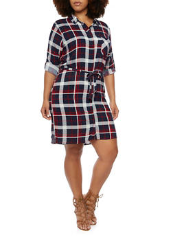 Plus Size Plaid Shirt Dress - 3390038346579