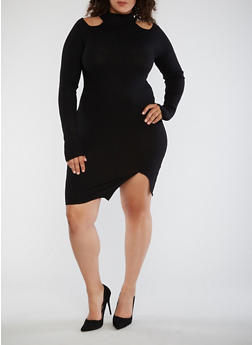 Plus Size Ribbed Cold Shoulder Bodycon Dress - 3390038347350