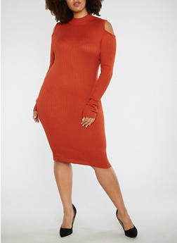 Plus Size Ribbed Knit Bodycon Dress - 3390038347359