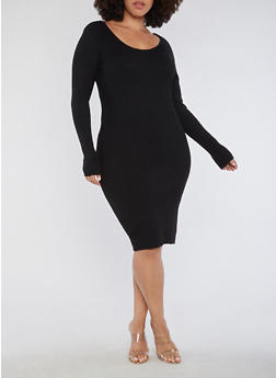 Plus Size Long Sleeve Ribbed Knit Midi Dress - BLACK - 3390038347360