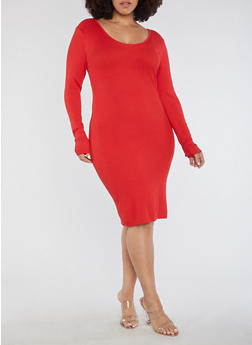 Plus Size Long Sleeve Ribbed Knit Midi Dress - 3390038347360