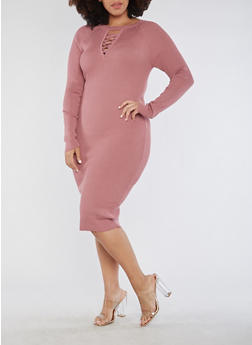 Plus Size Long Sleeve Ribbed Knit Midi Dress - 3390038347362