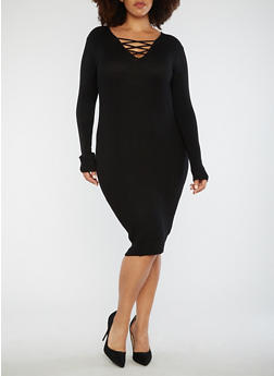 Plus Size Lace Up Sweater Dress - 3390038347363