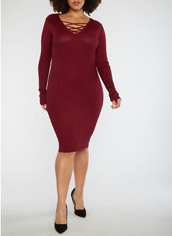 Plus Size Lace Up Sweater Dress - 3390038347363