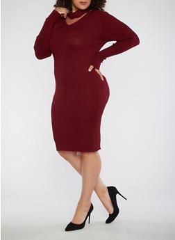 Plus Size Ribbed Knit Choker Neck Dress - BURGUNDY - 3390038347364