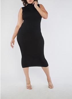 Plus Size Sleeveless Ribbed Knit Dress - 3390038347365