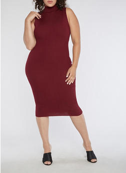 Plus Size Sleeveless Ribbed Knit Dress - 3390038347365