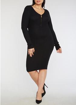 Plus Size Half Zip Ribbed Knit Dress - 3390038347366