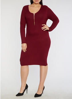 Plus Size Half Zip Ribbed Knit Dress - 3390038347366