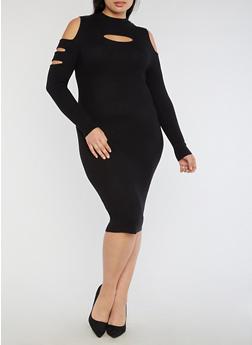 Plus Size Slit Ribbed Knit Cold Shoulder Dress - 3390038347370
