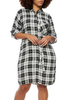 Plus Size Plaid Shirt Dress - 3390038347579