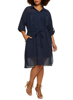 Plus Size Shirt Dress with Zip Bust Pockets - 3390038347711