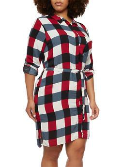 Plus Size Plaid Shirt Dress - 3390038348579
