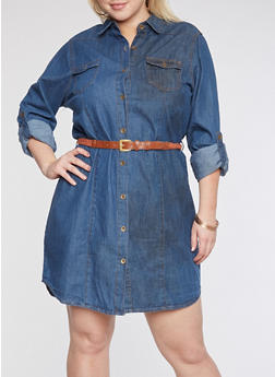 Plus Size Button Front Denim Dress - 3390038348758