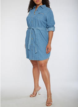 Plus Size Button Front Denim Dress - 3390038348760
