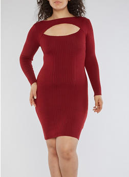 Plus Size Rib Knit Keyhole Sweater Dress - 3390051060001