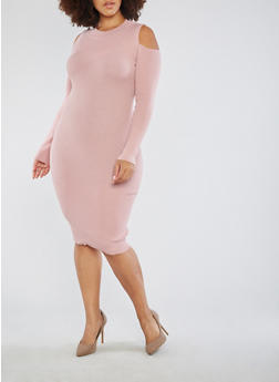 Plus Size Mid Length Rib Knit Sweater Dress - 3390051060002