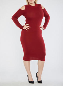 Plus Size Mid Length Rib Knit Sweater Dress - 3390051060002