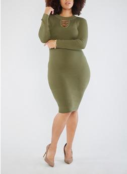 Plus Size Lace Up Keyhole Sweater Dress - OLIVE - 3390051060003