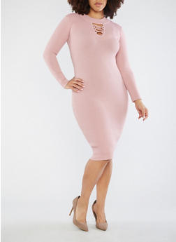 Plus Size Lace Up Keyhole Sweater Dress - 3390051060003