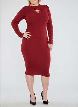 Plus Size Lace Up Keyhole Sweater Dress - 3390051060003