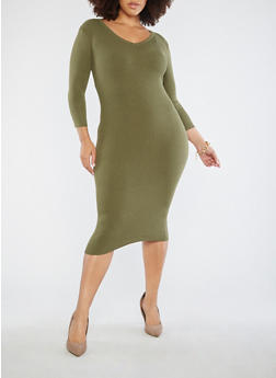 Plus Size Open Back Sweater Dress - OLIVE - 3390051060004