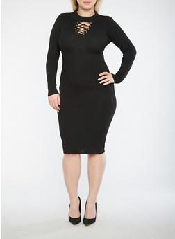 Plus Size Lace Up Sweater Dress - 3390051060005