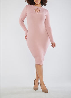 Plus Size Lace Up Sweater Dress - 3390051060005