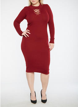 Plus Size Lace Up Sweater Dress - BURGUNDY - 3390051060005
