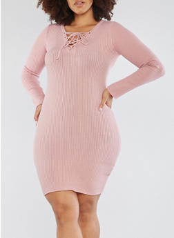 Plus Size Rib Knit Lace Up Sweater Dress - 3390051060006