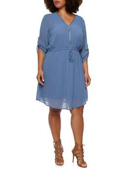 Plus Size Chiffon Dress with Zip V Neck - 3390051062720