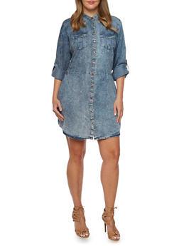 Plus Size Acid Wash Shirt Dress - 3390051062724