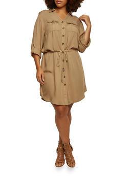 Plus Size Shirt Dress with Drawstring Waist - 3390051062733