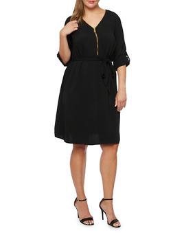 Plus Size Shift Dress with Waist Cinch - 3390051062789