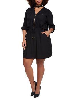 Plus Size Dress with Waist Cinch - 3390051062790