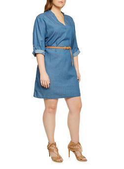 Plus Size Denim Dress with Removable Belt - 3390051062844