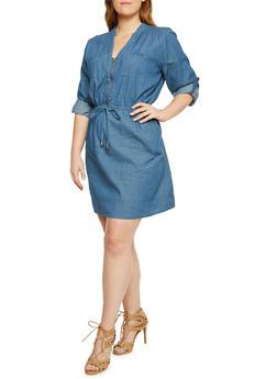 Plus Size Denim Dress with Zip V Neck - 3390051062846