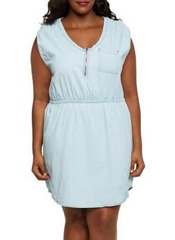 Plus Size Denim Dress with Zip Scoop Neck - LIGHT WASH - 3390051062935