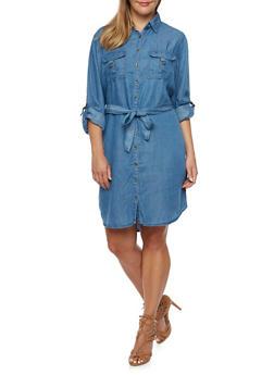 Plus Size Belted Chambray Shirt Dress - 3390051062992