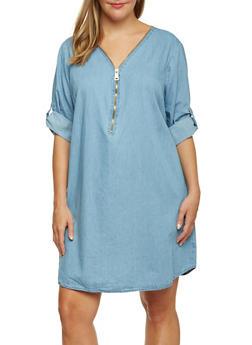 Plus Size Denim Dress with Zip V Neck - 3390051062993