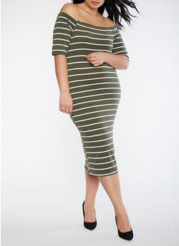 Plus Size Striped Off the Shoulder Dress - 3390051063049