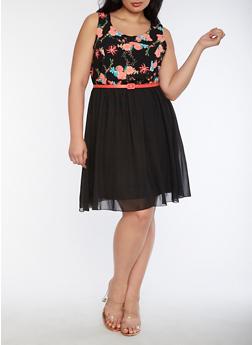 Plus Size Floral Belted Skater Dress - 3390051063521