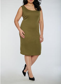 Plus Size Rib Knit Scoop Neck Midi Dress - 3390054268277