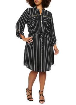 Plus Size Striped Shirt Dress with Drawstring Waist - 3390056122403