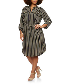 Plus Size Striped Shirt Dress with Zipper and Belt - 3390056122405