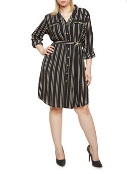 Plus Size Striped Shirt Dress with Belt - 3390056122406
