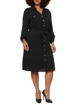 Plus Size Belted Shirt Dress with Cuffed Sleeves - 3390056122408
