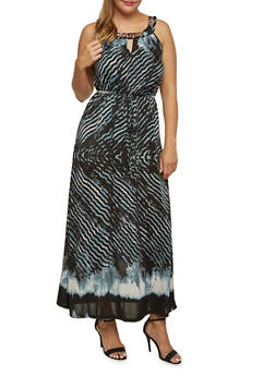 Plus Size Abstract Print Maxi Dress with Curb Chain Detail - 3390056122453