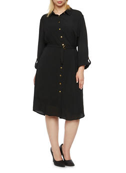 Plus Size Shirt Dress with Removable Belt - 3390056123062