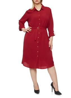 Plus Size Shirt Dress with Removable Belt - 3390056123062